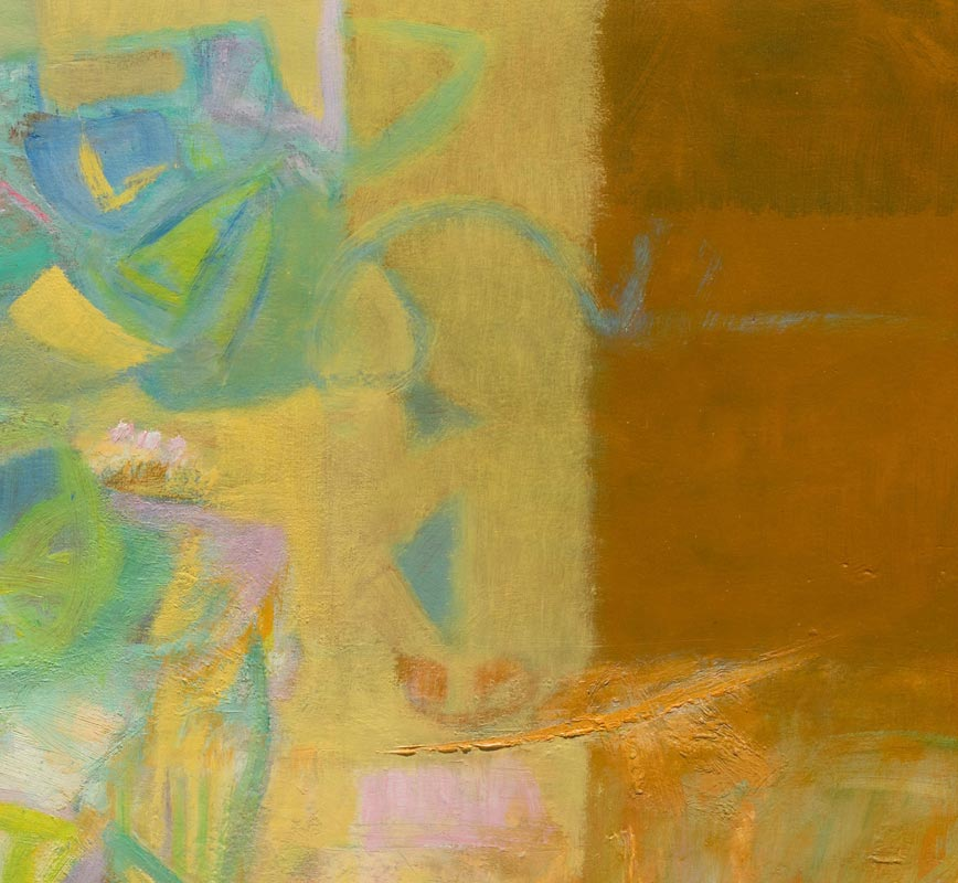 Detail of abstract painting with reference to nature. Mainly rust and beige colors. Title: Jardin Colgante