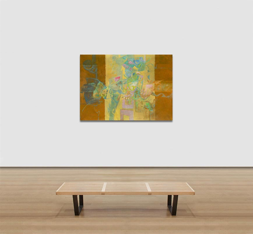View in a room of abstract painting with reference to nature. Mainly rust and beige colors. Title: Jardin Colgante