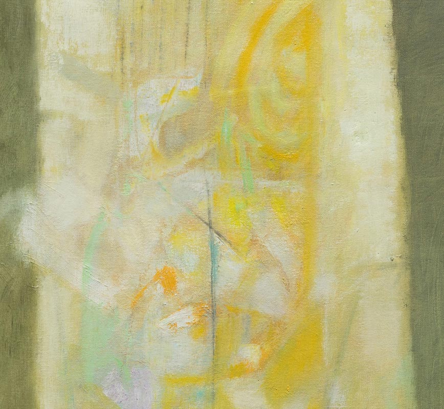 Detail of abstract painting with reference to nature. Mainly green and yellow colors. Title: Vitrales Amarillo 4