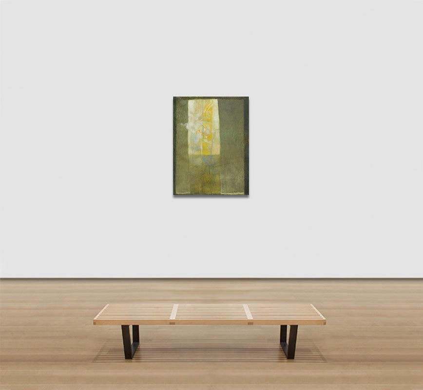 View in a room of abstract painting with reference to nature. Mainly green and yellow colors. Title: Vitrales Amarillo 4