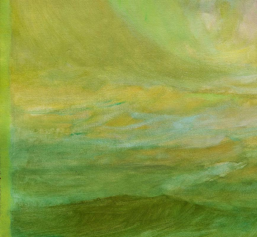 Detail of abstract painting with reference to nature. Mainly green and yellow colors. Title: El Primer Dia
