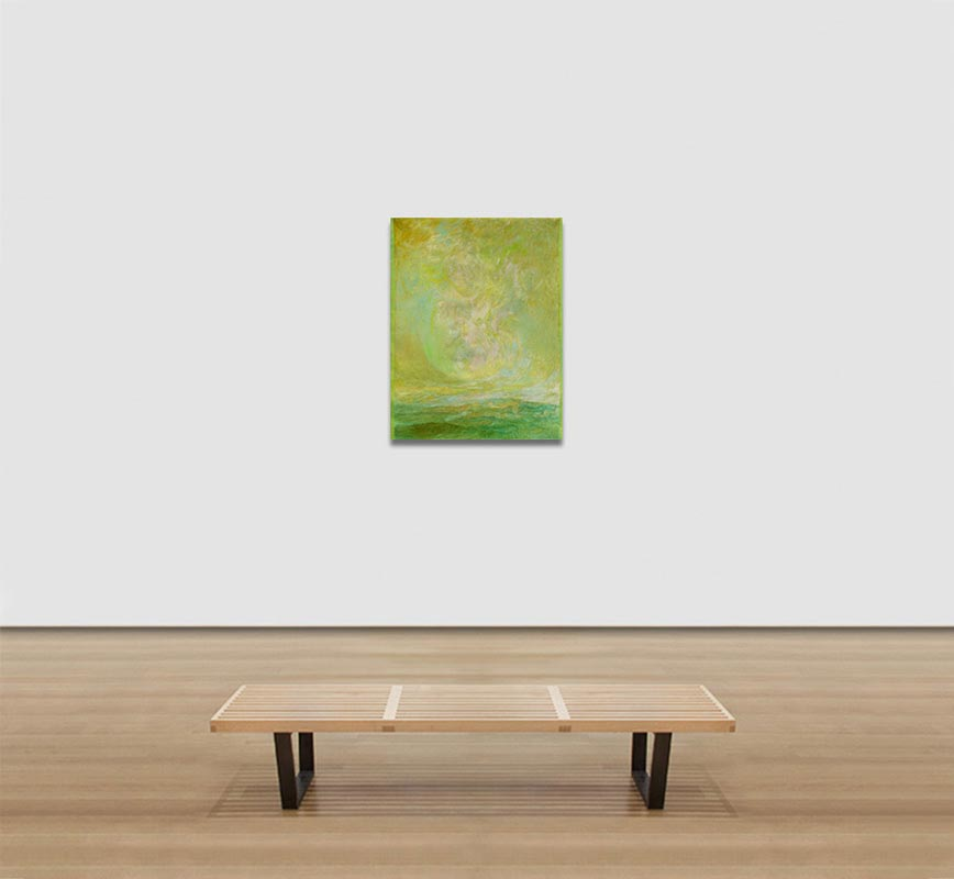 View in a room of abstract painting with reference to nature. Mainly green and yellow colors. Title: El Primer Dia
