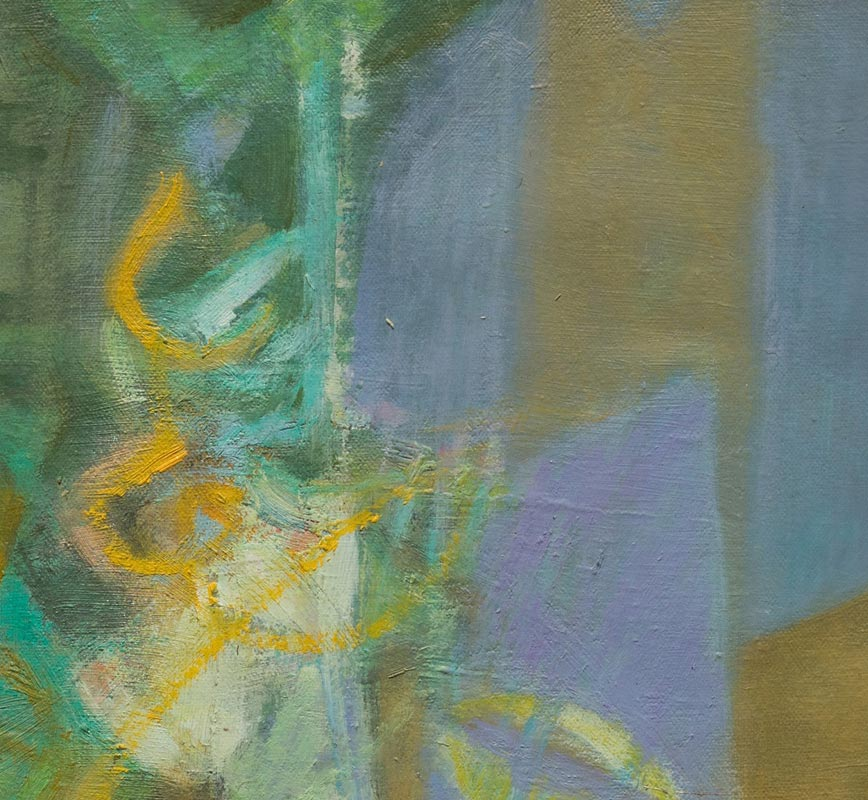 Detail of abstract painting with reference to nature. Mainly green and purple colors. Title: Nocturno I