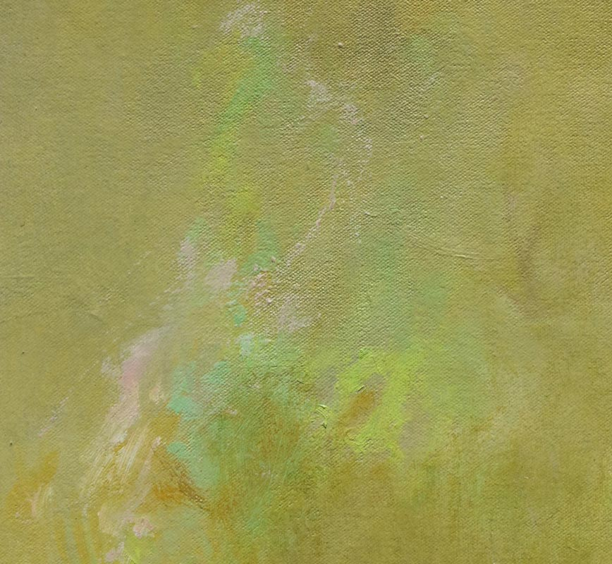 Detail of abstract painting with reference to nature. Mainly green colors. Title: Icaro II