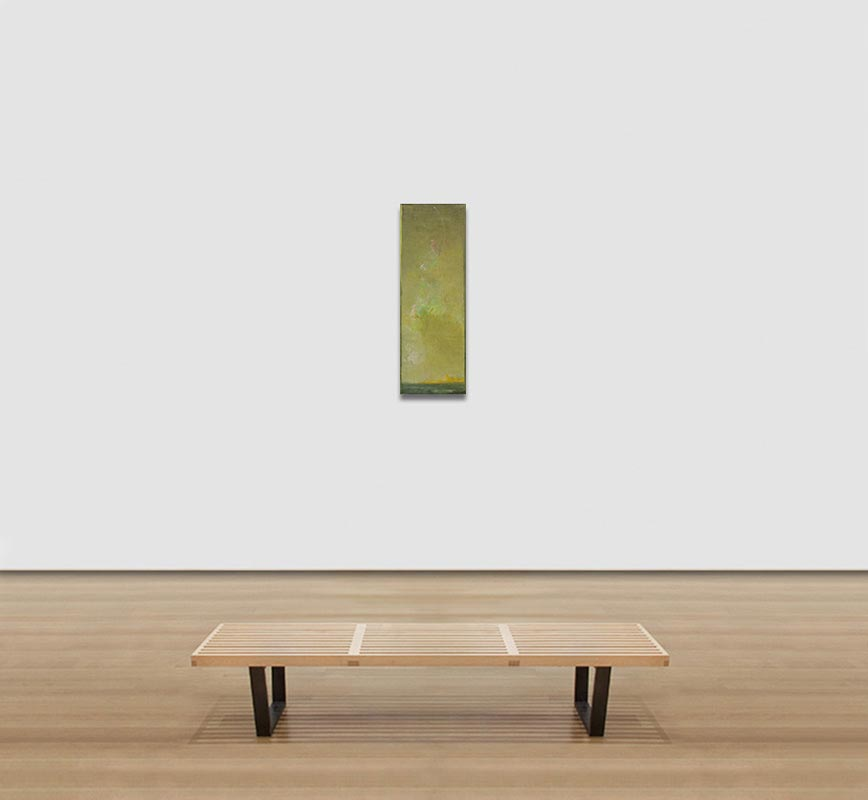 View in a room of abstract painting with reference to nature. Mainly green colors. Title: Icaro II
