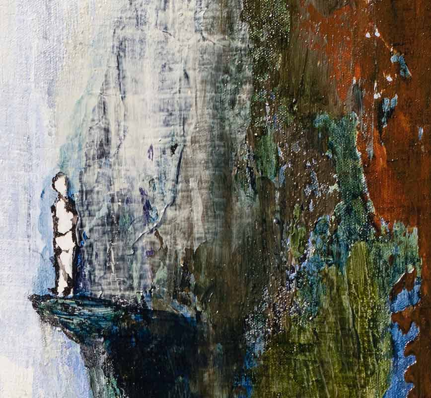 Detail of abstract painting with reference to nature. Mainly rust, blue and white colors. Title: Lonely at the Top