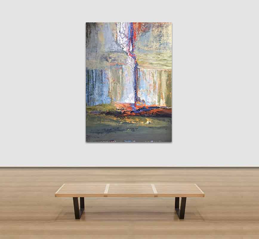 View in a room of abstract painting with reference to nature. Mainly red and blue colors. Title: Arcadian Driftwood