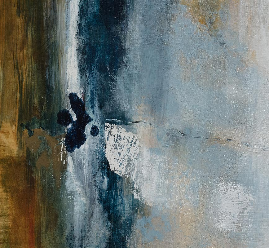 Detail of abstract painting with reference to nature. Mainly white and blue colors. Title: Favorable Conditions