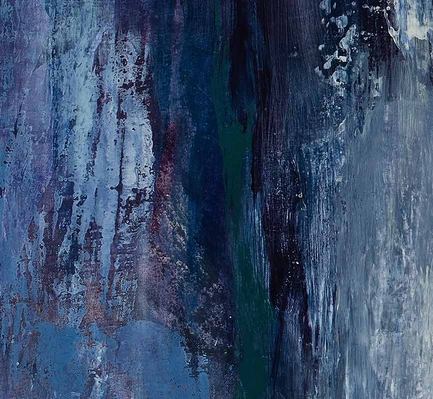 Detail of abstract painting with reference to nature. Mainly white and blue colors. Title: Arctic Escape
