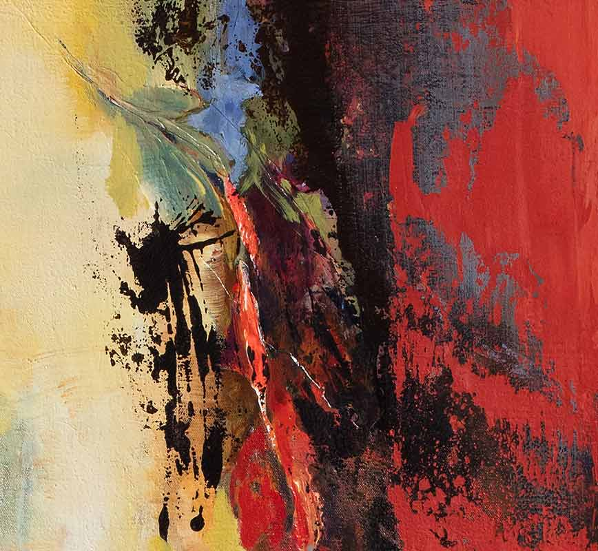 Detail of abstract painting with reference to nature. Mainly red and yellow colors. Title: Jump Into Fire