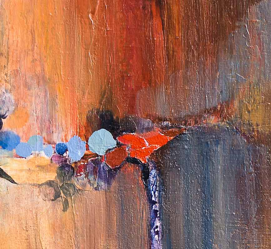 Detail of abstract painting with reference to nature. Mainly red and orange colors. Title: Many More Miles