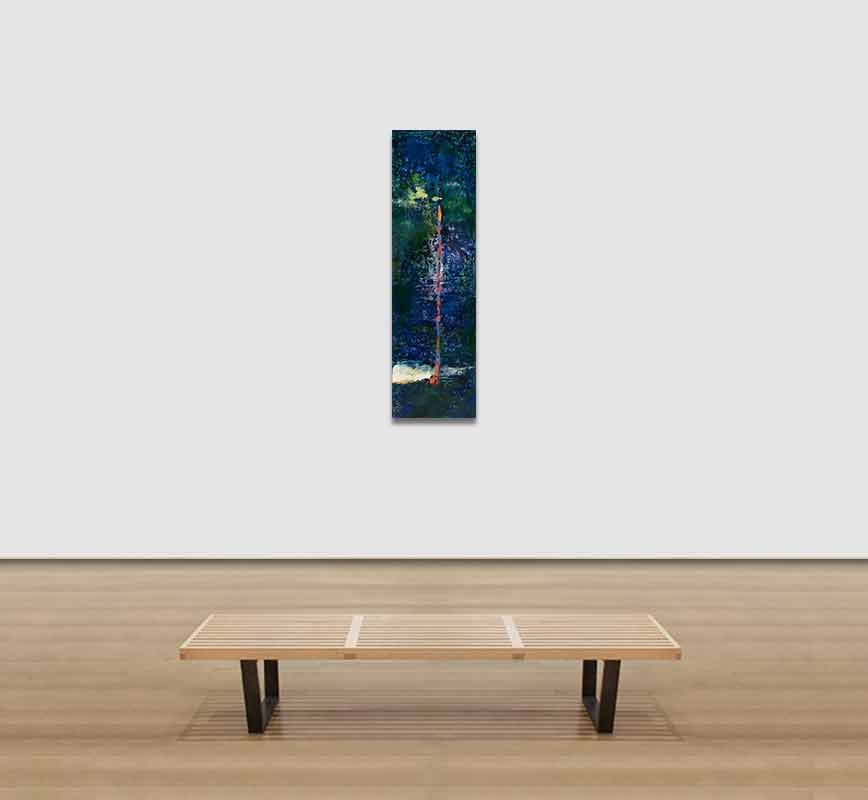 View in a room of abstract painting with reference to nature. Mainly blue and green colors. Title: Hidden Assets