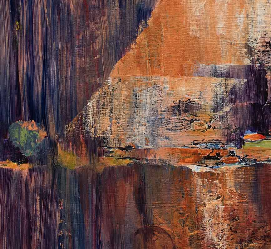 Detail of abstract painting with reference to nature. Mainly earth and rust colors. Title: Pride and Joy