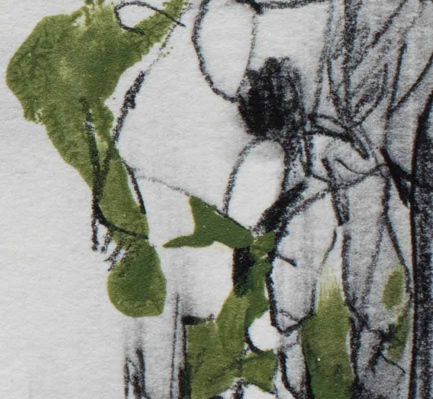 Detail of abstract watercolor with reference to nature. Mainly green colors. Title: Safe Flight