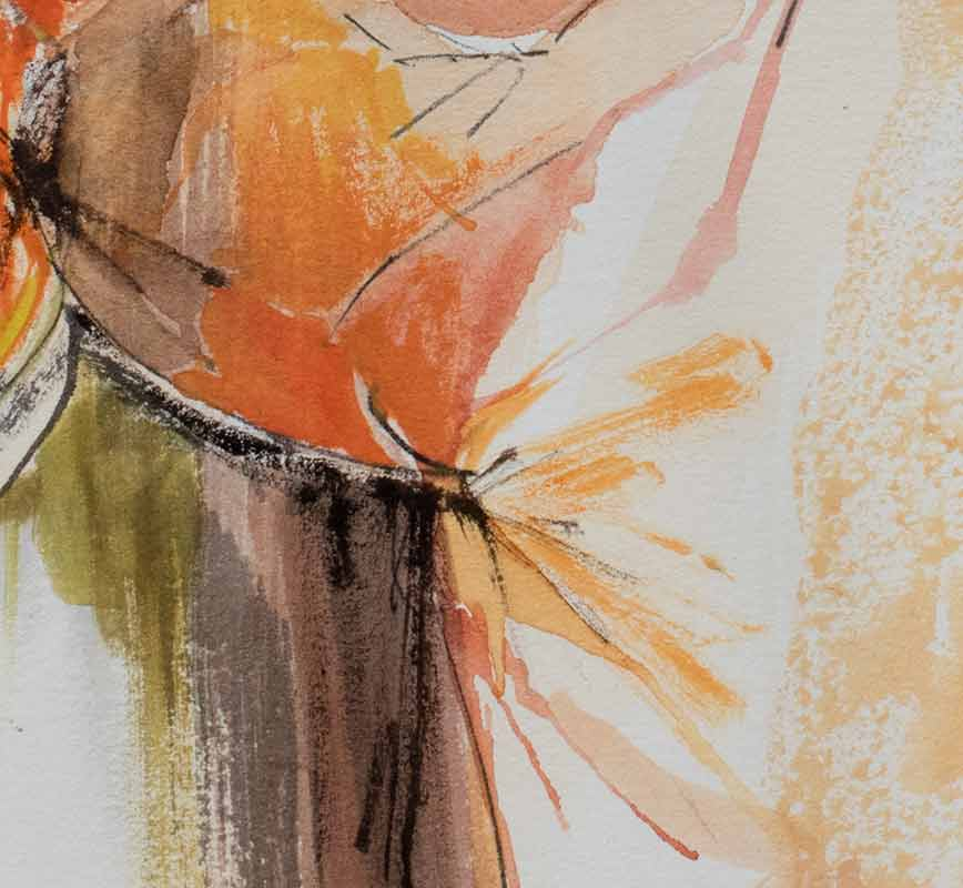 Detail of abstract watercolor with reference to nature. Mainly red and orange colors. Title: Benefits of Context