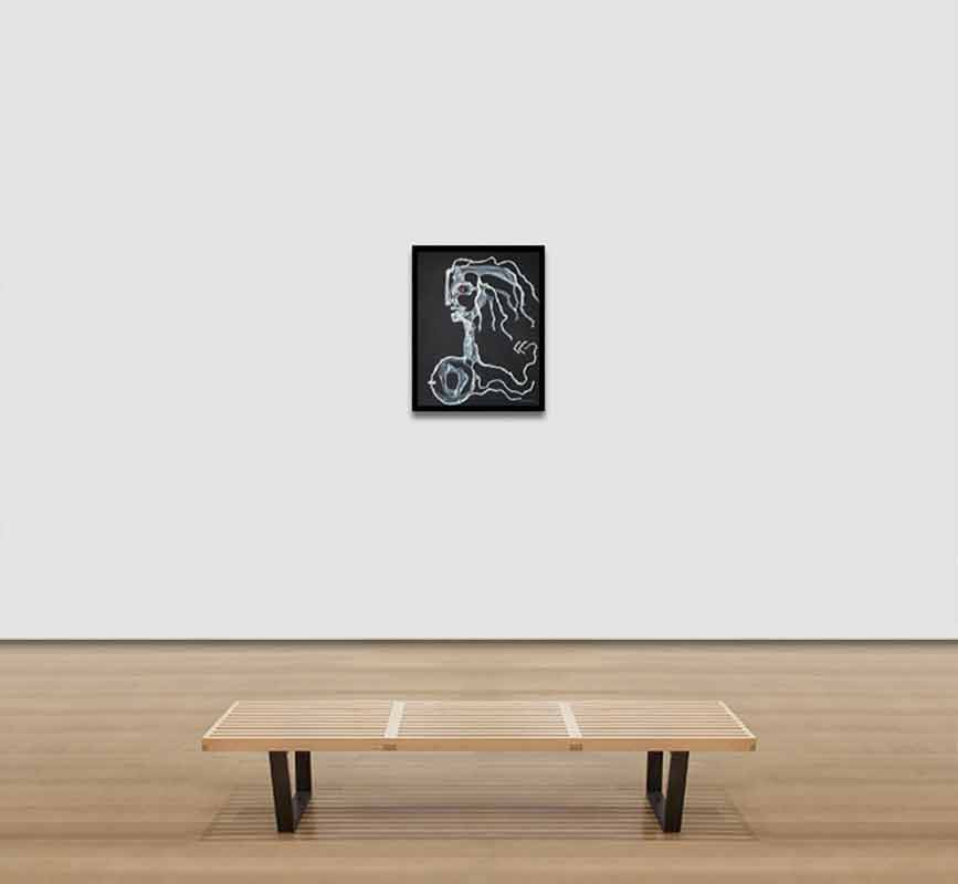 View in a Room of Surrealism figure drawn with plastic. Bust of a lady. Title: Head of a Woman