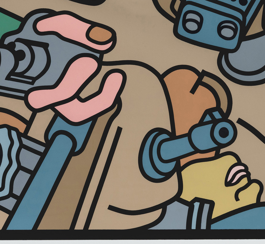 Detail of contemporary expressionist print. Political Painting showing people with guns. Title: A Tough Citizen