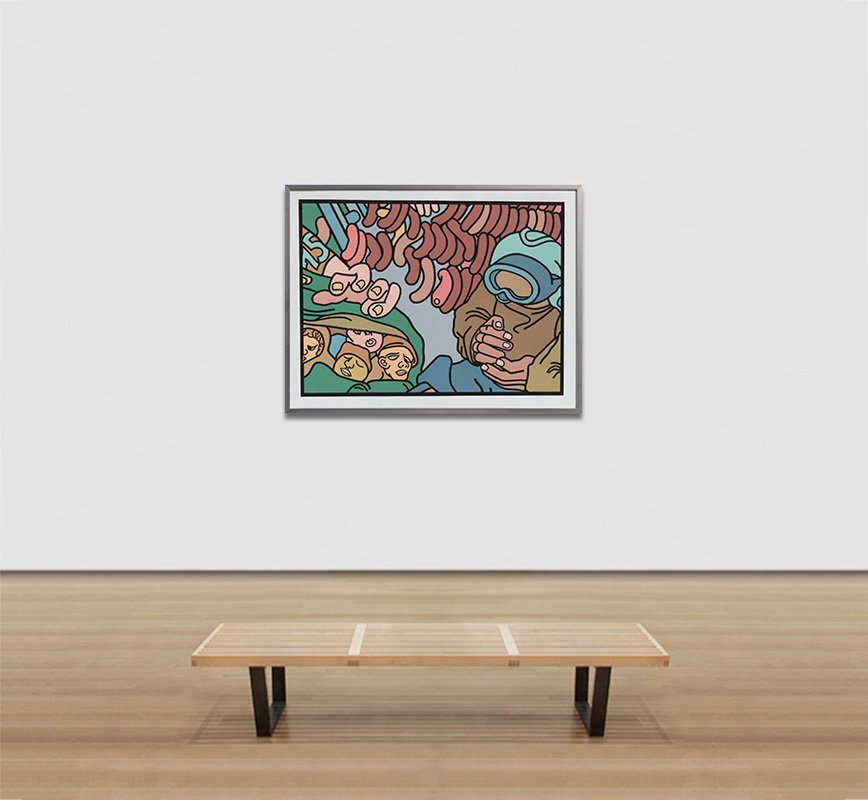 View in a room of contemporary expressionist print. Political Painting. Title: Hand Into Meat
