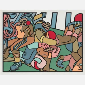 Contemporary expressionist print. Political Painting. Title: The Football Players