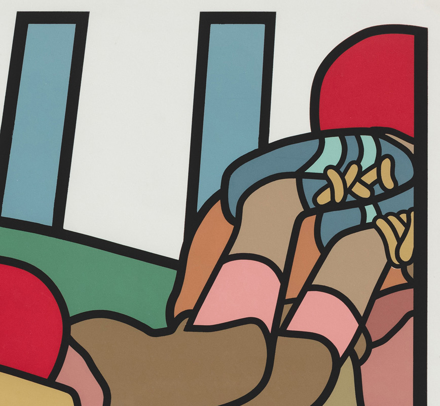Detail of contemporary expressionist print. Political Painting. Title: The Football Players