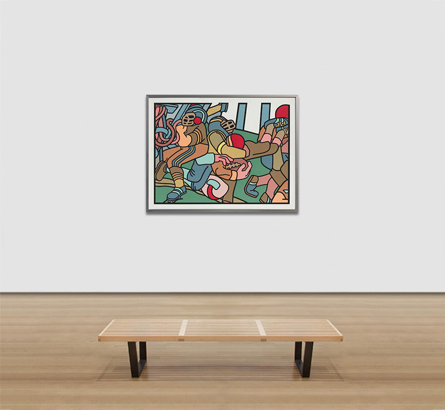 View in a room of contemporary expressionist print. Political Painting. Title: The Football Players