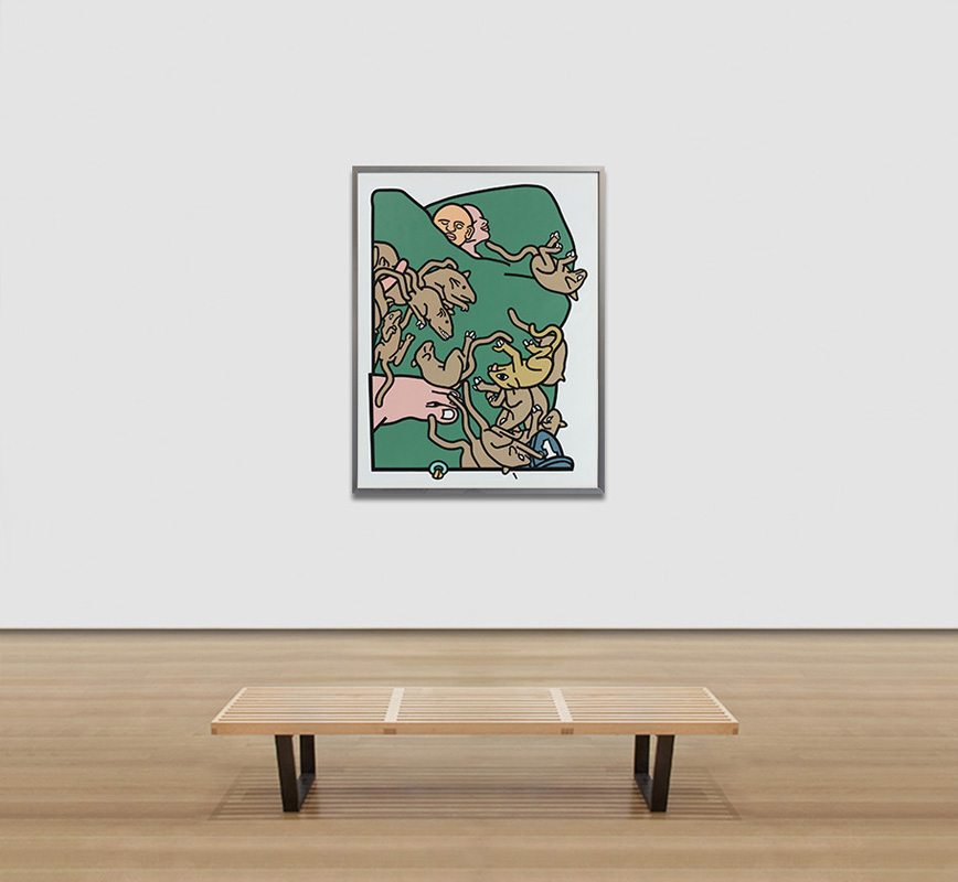 View in a room of contemporary expressionist print. Political Painting. Title: The Rats