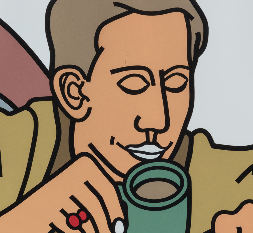 Detail of contemporary expressionist print. Political Painting. Title: The Coffee Break