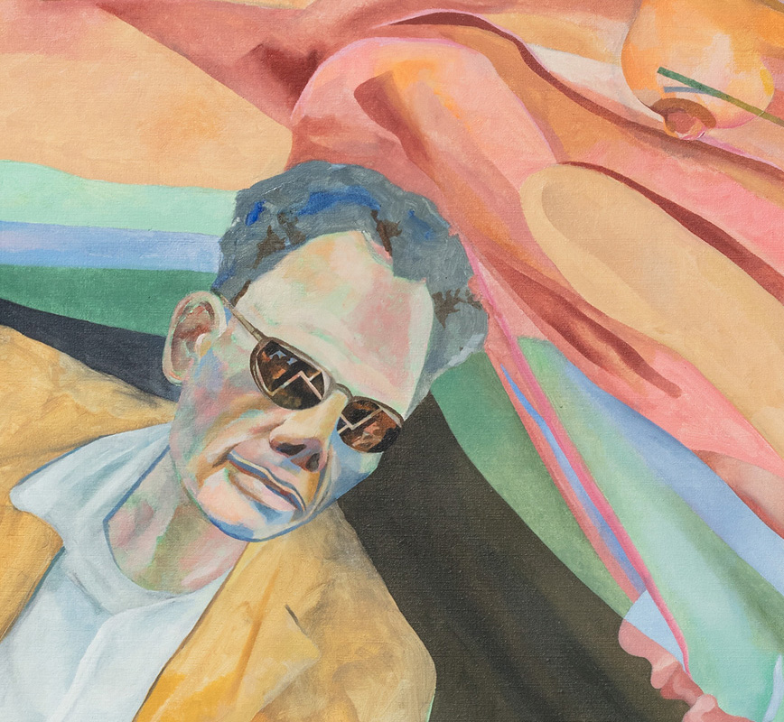 Detail of a contemporary expressionist painting depicting Arthur Miller. Title: Arthur Miller Thinks