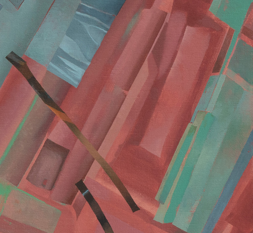 Detail of a contemporary expressionist painting. Political Painting. Title: The City Has a Body