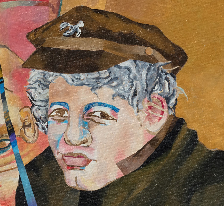 Detail of a contemporary expressionist painting depicting Joseph Heller. Title: Joseph Heller Thinks About Catch-22