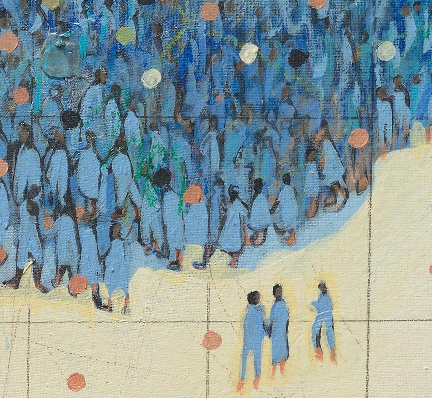 Detail of figurative painting with reference to Haitian and African-American culture. Mainly blue and beige colors. Title: Intersect #A2