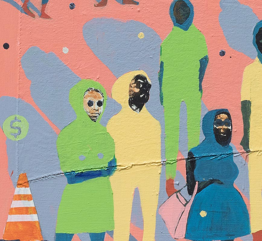 Detail of figurative painting with reference to Haitian and African-American culture. Mainly pink, green and blue colors. Title: Mass Appeal #1