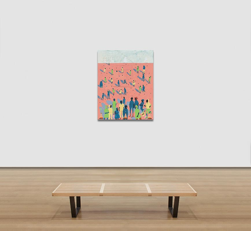 View in a Room of figurative painting with reference to Haitian and African-American culture. Mainly pink, green and blue colors. Title: Mass Appeal #1