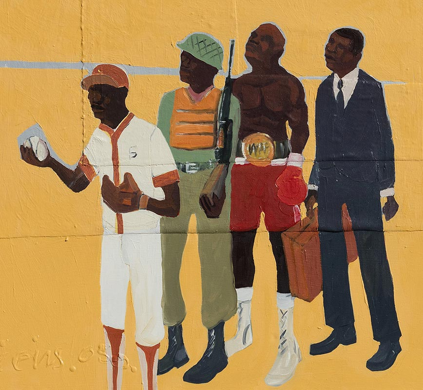 Detail of figurative painting with reference to Haitian and African-American culture. Mainly orange, white, and black colors. Title: Hero