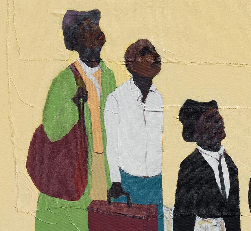 Detail of figurative painting with reference to Haitian and African-American culture. Mainly beige, white, and black colors. Title: Apple Pie #4