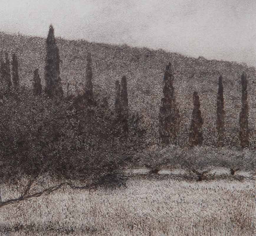 Detail of a Greek landscape painting. Olive and cypress trees in a field. Title: Olive Tree in Field