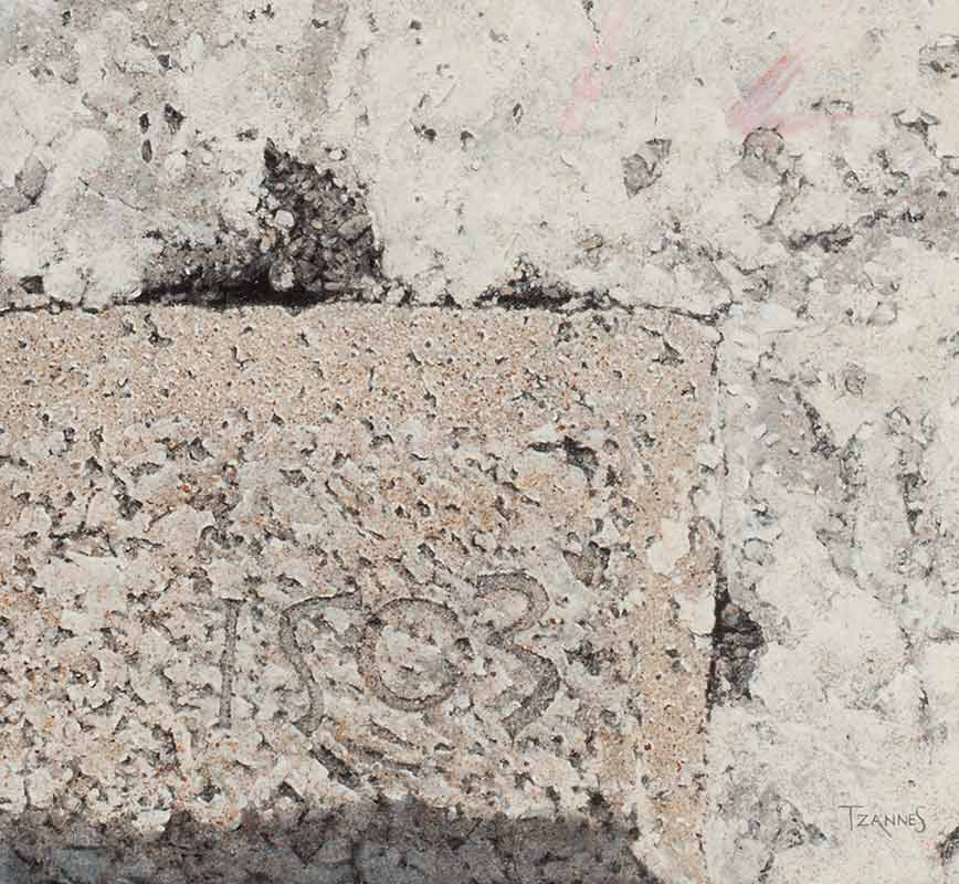 Detail of a Painting of a wall corner stone. Title: Corner Stone at Chora Castle