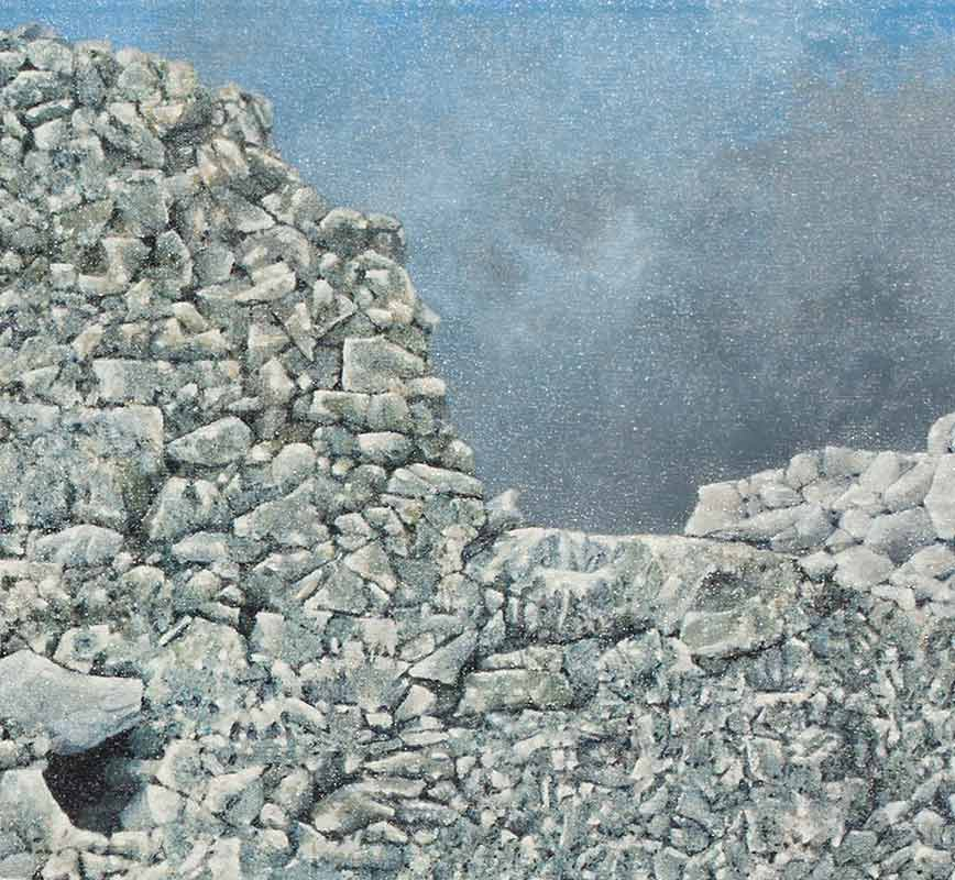 Detail of a Painting of a ruined wall. Title: Ruined Wall at Paliochora