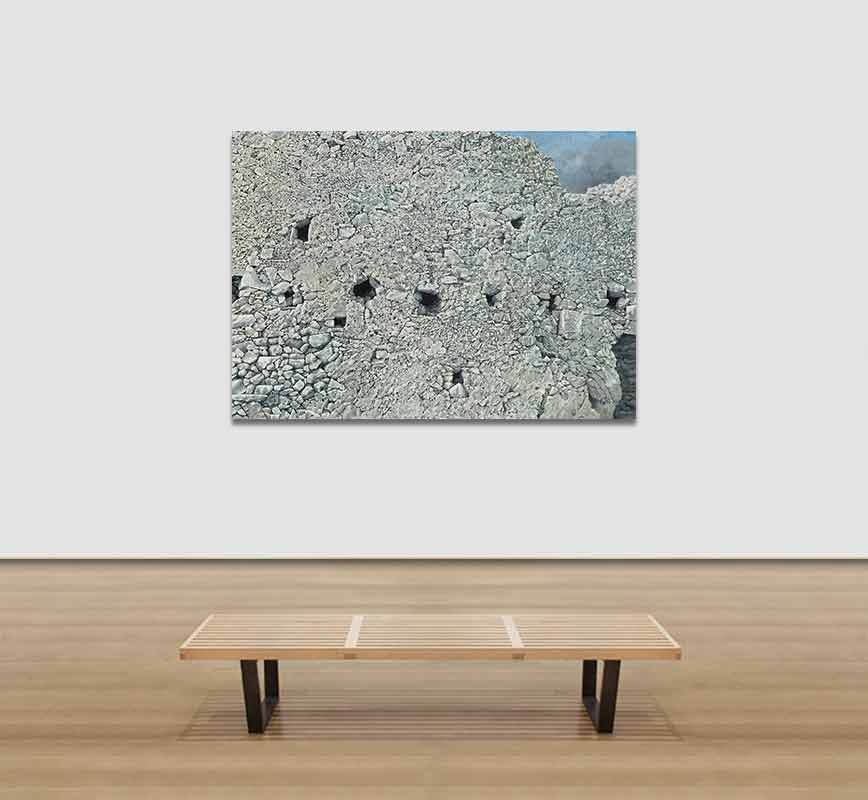View in a Room of a Painting of a ruined wall. Title: Ruined Wall at Paliochora
