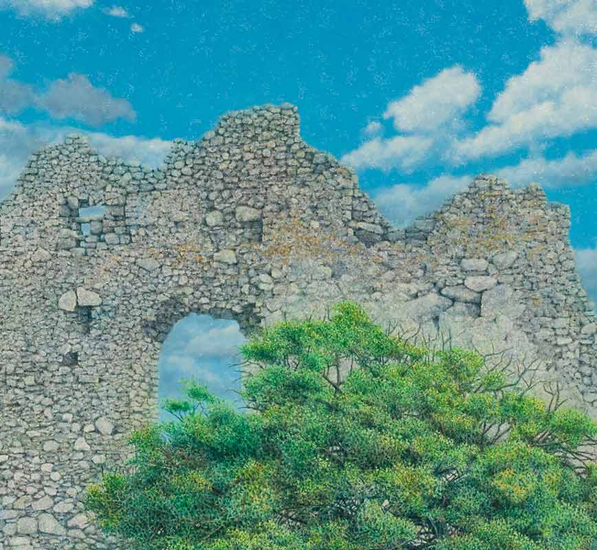 Landscape painting of a ruined wall with pine tree. Title: Ruined Wall at Paliochora with Tree