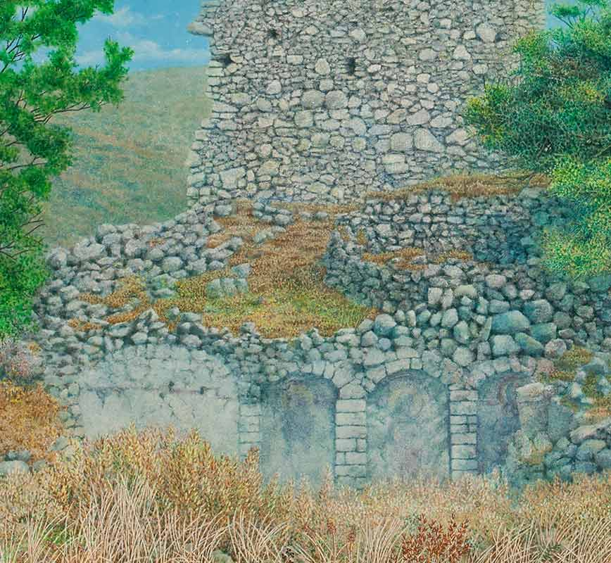 Detail of a Landscape painting of a ruined wall with pine tree. Title: Ruined Wall at Paliochora with Tree
