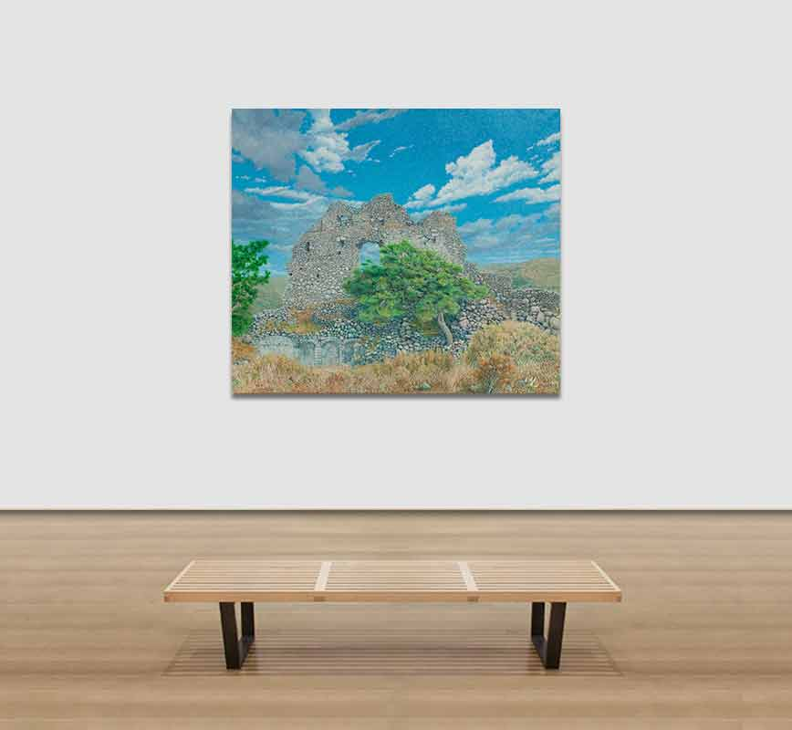 View in a Room Landscape painting of a ruined wall with pine tree. Title: Ruined Wall at Paliochora with Tree