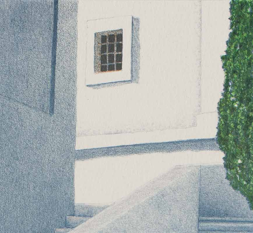 Detail of a lithograph with stairwell and cypress tree. Title: Tower