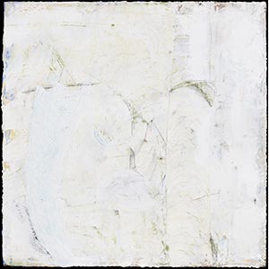 Abstract white painting. Title: Trace and Sway