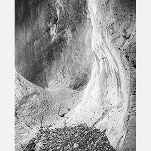 Black and white photograph of caves in the Greek island of Kithira inspired by the writings of the ancient Greek philosopher Heraclitus. Title: Homage to Heraclitus: Earth VIII
