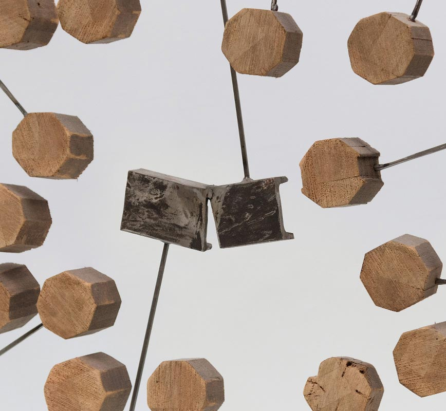 Detail of Abstract metal and wood sculpture. Title: Inclusion I