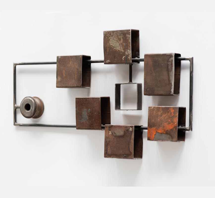 Abstract metal sculpture. Steel. Title: Inclusion IV