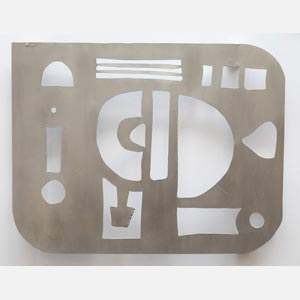 Abstract metal sculpture sculpture. Aluminum. Title: Template for Erasure