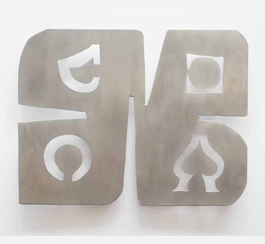 Abstract metal sculpture sculpture. Aluminum. Title: Template for Symbols