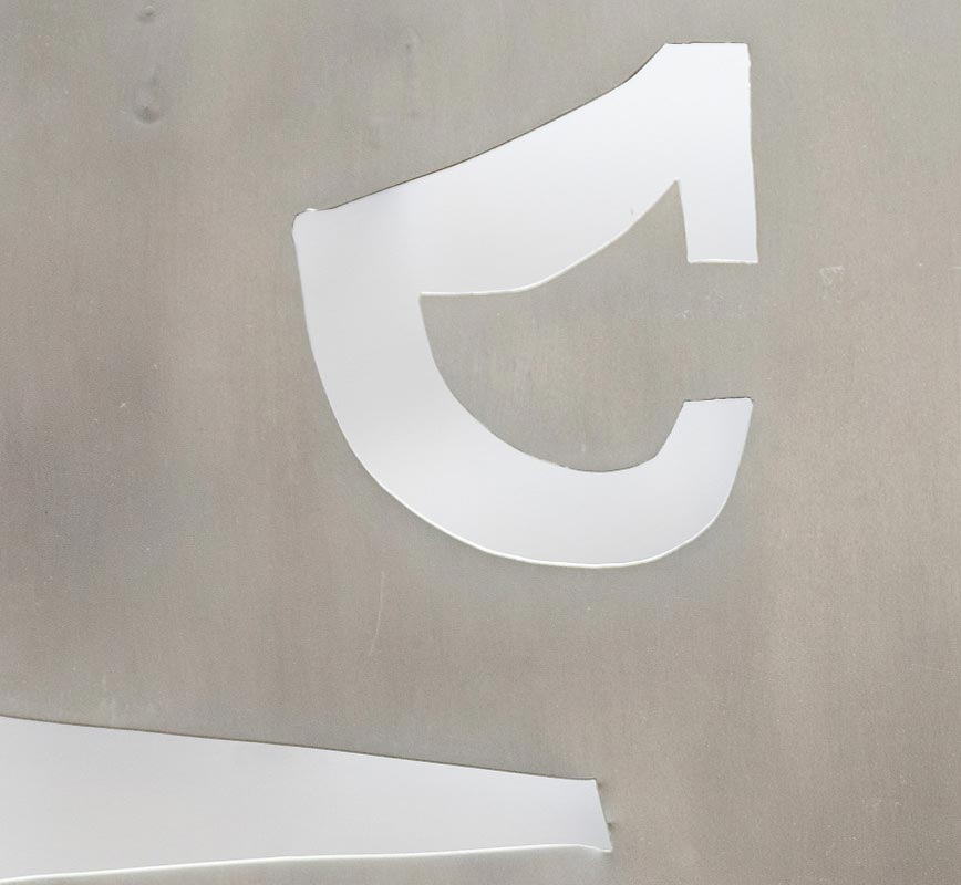 Detail of Abstract metal sculpture sculpture. Aluminum. Title: Template for Symbols